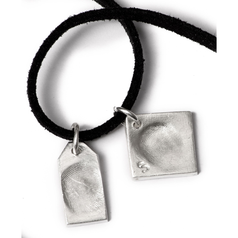 Double Dog Tag with Two Small Charms