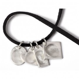 Quadruple Dog Tag with Four Small Charms
